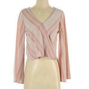 Abbeline blouse vneck stripe career wear pink XS
